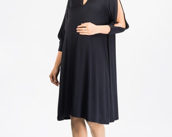 Maternity Slit-Sleeve Midi Dress