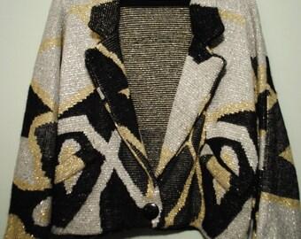 Chunky Metalic Knit Sweater Blazer