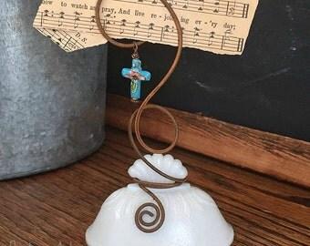 Vintage Milk Glass Sugar Bowl Lid Photo Holder