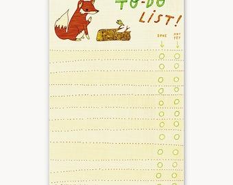 office supplies / fox TO DO LIST notepad, coworker gift, to do list notebook, to do planner, office gift idea, secretary gift notepad
