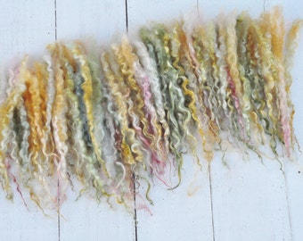 """Hand Dyed Separated Wensleydale Lamb Locks - 7-9"""" - Art Fiber - Apron Pockets Full of Flowers - 1 ounce"""