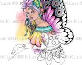 B. K. Lusk - Digital Download Digistamp- Clipart Zentangle Rose Fairy Coloring Page - Tattoo Flash Scrapbook Craft Art