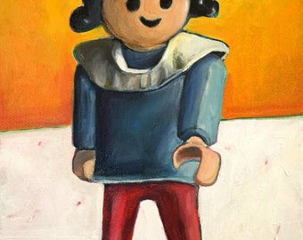 Original Oil Painting: Playmobil Girl Figure Toy