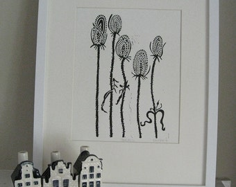 TEASELS Lino Print - Modern Botanical Print - 8x10 - Ready to Ship
