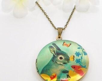 Gray Bunny Jewelry Rabbit Locket Flower - Bunny Rabbit - Rabbit Necklace - Bunny Locket