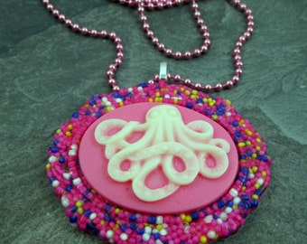 Cameo Necklace - Octopus Cameo  - Candy Sprinkles - Resin Pendant - Octopus Jewelry