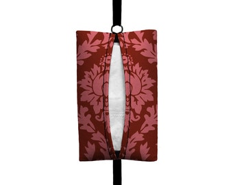 Auto Sneeze - Damask - Visor Tissue Case/Cozy - Car Accessory Automobile - Coral Pink Cranberry Maroon Floral