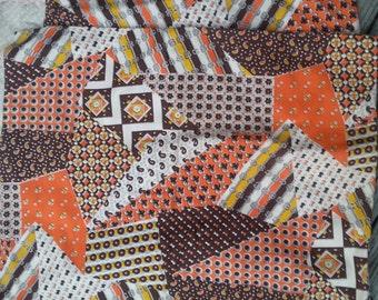 "Vintage 60s 70s Brown Orange Groovy Patchwork Crazy Quilt Mod Fabric 2yds x 44"""