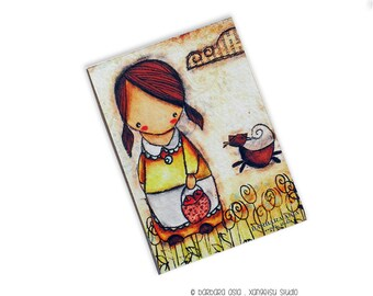 ACEO Giclee Fine Art Print on Pine Block - Apple Picking with a Cat