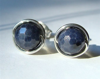 Faceted Sapphire Studs Small Sapphire Earrings Earrings Wire Wrapped in Sterling Silver September Birthstone Studs
