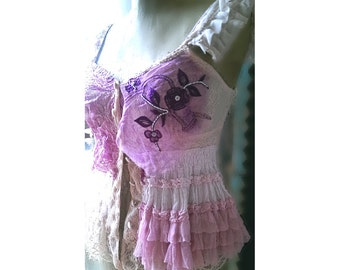 Lacy Pink Top, Pretty, Chiffon, Vintage Silk, Embroidery, Romance, Pink, Purple, Frills, Rustic