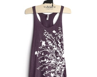 SALE Large- Vintage Purple Racerback Tank with Flowering Branches Screen Print
