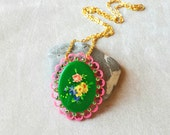 Unique Laser cut Necklace, Quirky Pin Up Rockabilly necklace, Gifts for Pin Up, Vintage necklace, Colorful necklace, best friends gift