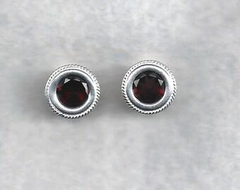 8mm Natural Mozambique Garnet Earrings