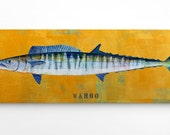 Wahoo Art Block- Beach House Decorations- Gifts for Fishermen- Wahoo Print- Best Gifts for Men- Cool Fishing Gifts for Men- Fish Gifts