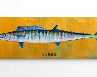 Cool Fishing Gifts for Men- Wahoo Art Block- Beach House Decorations- Gifts for Fishermen- Wahoo Print- Best Gifts for Men- Fish Gifts
