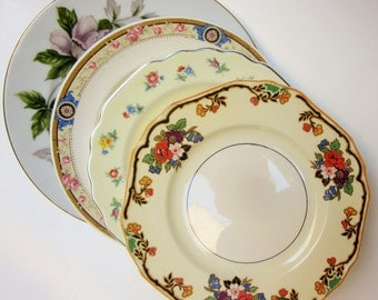 Mismatch China Bread Salad Dessert Cake Plate Mixed Pink Floral Rose Wedding Shower Vintage Mixed Mad Hatter China (#P541A)