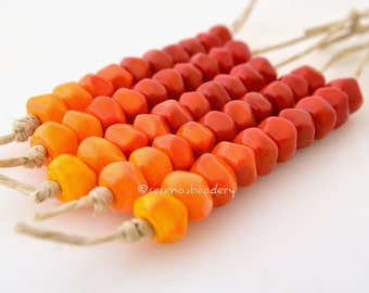 Lampwork Glass Beads Nugget Rocks ORANGE to RED Tiny Handmade TANERES sra faceted