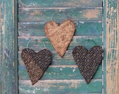 Rustic Heart Ornaments, Whimsical Hearts, Antique Quilt Ornaments, Hipster Hearts Decor, Primitive Tattered Hearts Black White - set of 3