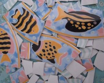 Mosaic Tiles Yellow Black Fish Surf Ocean Sea  Broken Plate Pieces Art Supply Tesserae Colorful