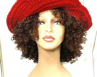 Gift for Women,  Floppy Hat,  Womens Crochet Hat,  Crochet Womens Hat Trendy,  Red Hat,  Womens Winter Hat,  Frontier Wide Brim Hat
