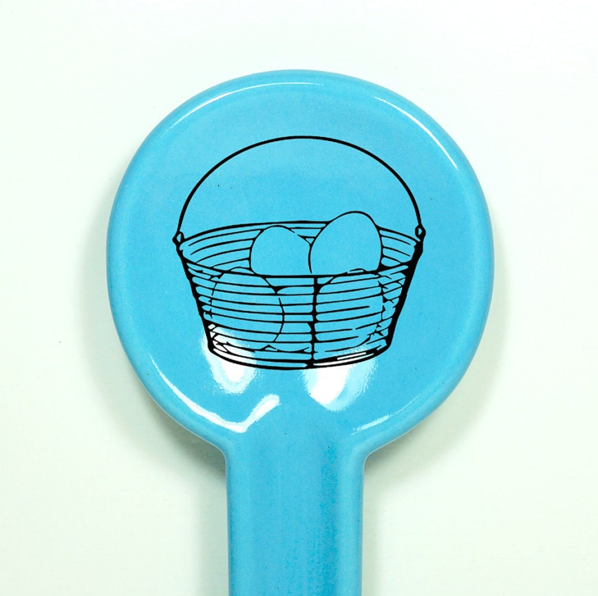 spoon rest with an egg basket on it. Made to Order / Pick Your Colour