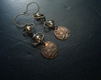reduced - hermes - etruscan lightweight faceted crystal with vintage copper colored coin - indie occult jewelry