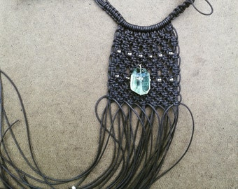 Brown macrame fringe necklace with silver beads and gemstone