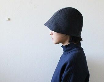 CHARCOAL WOOL HAT / women / beanie / cloche / reversible / linen hat / winter / made in australia / eco friendly / handmade / pamelatang
