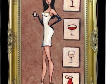 Cocktail Woman Wine Art, Martini Gift Idea for Her, Colorful Art Print, Designer Fashion Illustration, Chanel Wall Art, Fashionista SHANO