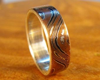 Silver Ring, Mokume Ring, Mokume Gane Ring, Sterling Silver Ring, Wedding Ring, Silver Wedding Ring, Mokume Wedding Ring, Mens Wedding Ring