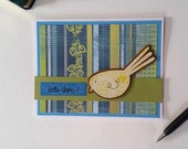 Hello All Occasion Handmade Note Card / Bird / Thank You Birthday Just Because