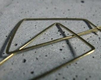 Large modern hoop earrings, Polygon spike minimalist hoops in hammered raw brass, delicate simple