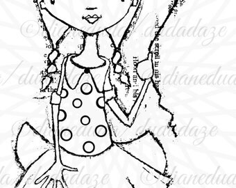 Hold On Tight Girl with Balloon Digital Stamp - Printable - Art to Color by STUDIODUDAART