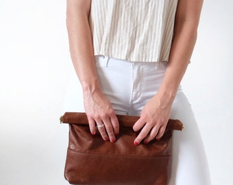 Brown Large Leather Clutch, Crossbody Leather Handbag in Chocolate Brown Leather, IBIS CLUTCH- Large -Chocolate Brown- by Awl Snap