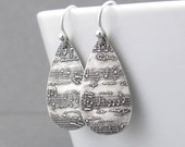 Silver Music Earrings Sheet Music Jewelry Music Note Jewelry Sterling Silver Dangle Earrings Mother's Day Gift for Her - Abigail