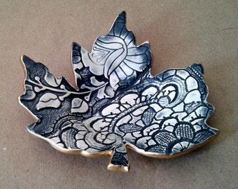 Ceramic Leaf Trinket Dish Navy Blue with gold edging