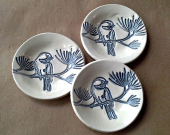 THREE Ceramic Bird Prep Bowls Off White and Blue Organic Shape