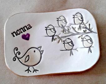 NONNA Trinket  Dish Mothers Day 5 birdies on branch Mothers Day Gift