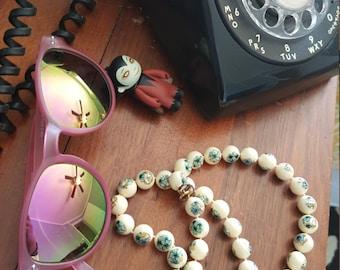 Vintage Floral Bead Necklace
