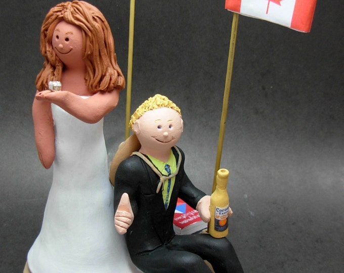 Mexican Bride Canadian Groom Wedding Cake Topper, CakeTopper with Big Wedding Ring, Giant Wedding Ring Caketopper, Bling Wedding CakeTopper
