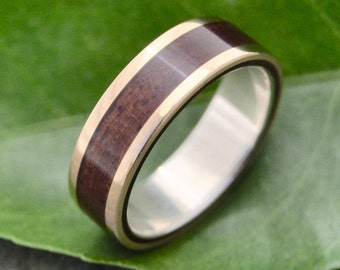 Yellow Gold Lados Nacascolo Wood Ring - ecofriendly wood wedding band, 14k yellow gold exterior with sterling interior