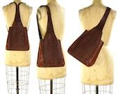 90s Leather Backpack / Vintage 1990s Convertible Sling Bag / Woven Brown Leather Purse with Adjustable Shoulder Strap / Hippie Boho Satchel
