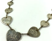 WWII Trench Art Necklace / Vintage 1940s Sweetheart Necklace of Heart Cut Austrailian Coins