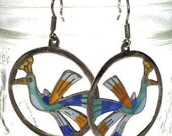 Vintage Early Laurel Burch Enamel Bird Earrings / 1970s Sterling Silver Cloisonne Figural Bird Dangle Earrings for Pierced Ears