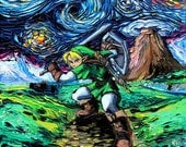 Legend of Zelda Art - Link Starry Night print van Gogh Never Saw Hyrule by Aja 8x8, 10x10, 12x12, 20x20, and 24x24 inch sizes