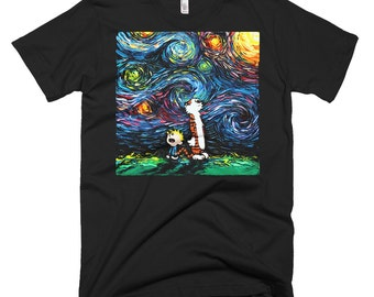 Calvin and Hobbes Art T Shirt - Men's Clothing - shirt featuring What If van Gogh Had An Imaginary Friend Starry Night by Aja Small - 3XL