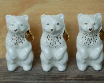 Ceramic Spirit Bear with a Gold Feather- Handmade Ceramic Bear - Ceramics and Pottery - Modern Ceramics