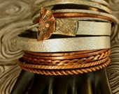Hippie Bohemian Boho Style Jewelry ~  Gyspy Bangle Stack ~ Silver and Copper - made from smashed knitting needles and  beaten buttons