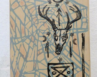 Deer Skull and Symbols one of a kind block print and mixed media on wood